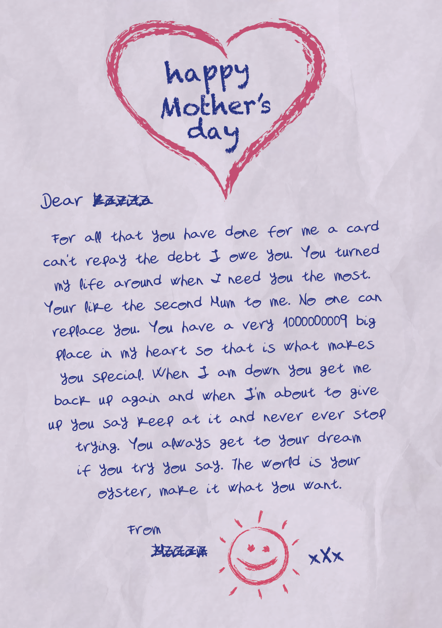 Mother's Day letter to a foster carer