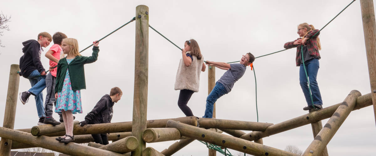 Children on a climbing frame