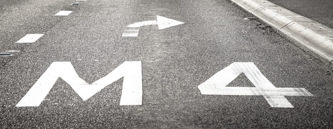 Road Pavement Marking M4 and Right Turn Arrow