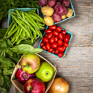 Fresh farmers market fruit and vegetables