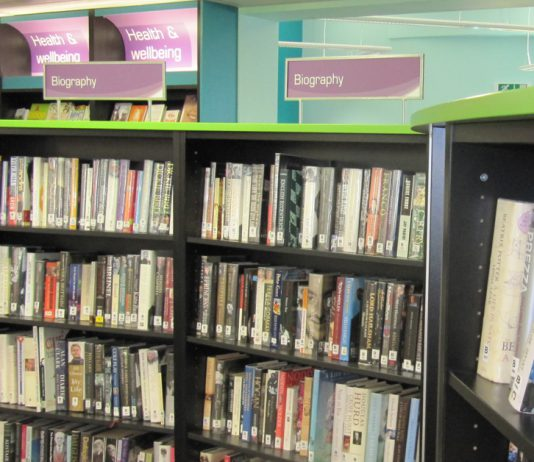 Bookshelves in a library