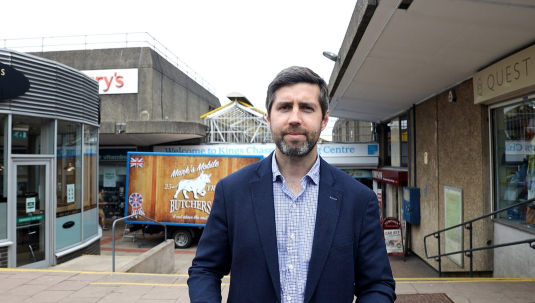 Cllr Toby Savage at Kings Chase Shopping Centre, Kingswood